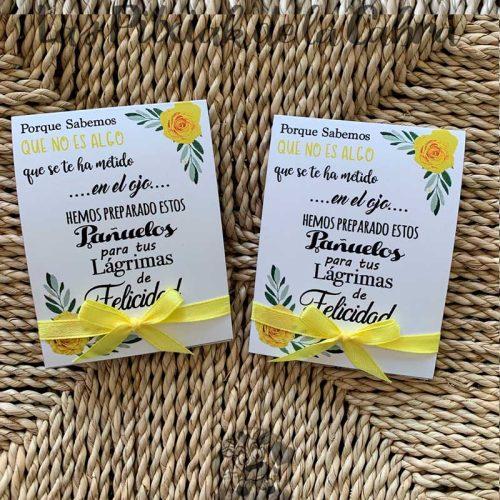 Pañuelos para boda lágrimas de felicidad flores amarillas