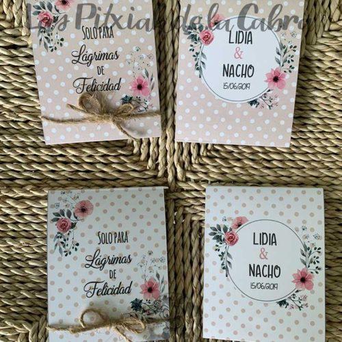Pañuelos para boda lágrimas de felicidad en dos tonos