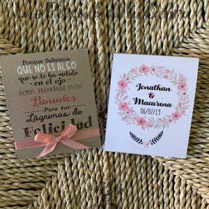 Pañuelos para boda lágrimas de felicidad corona salmón
