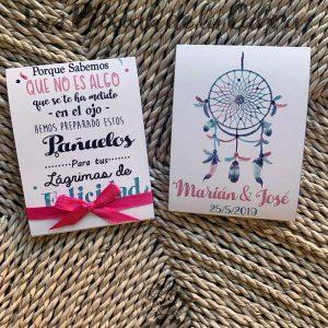 Pañuelos para boda lágrimas de felicidad diseño atrapasueños