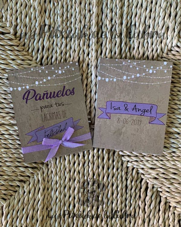 Pañuelos para boda lágrimas de felicidad moradas