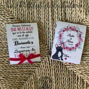 Pañuelos para boda lágrimas de felicidad bulldog francés