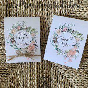 Pañuelos para boda lágrimas de felicidad corona de flores cuerda