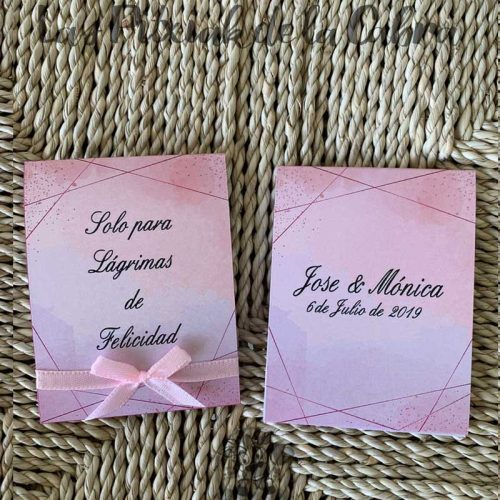 Pañuelos para boda lágrimas de felicidad rosa