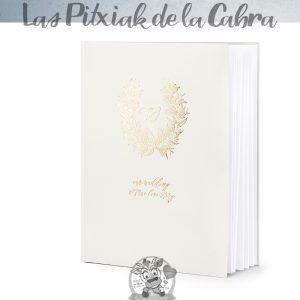 Libro de firmas boda con diseño dorado