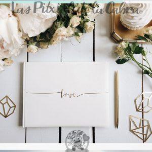 Libro de firmas para bodas love dorado