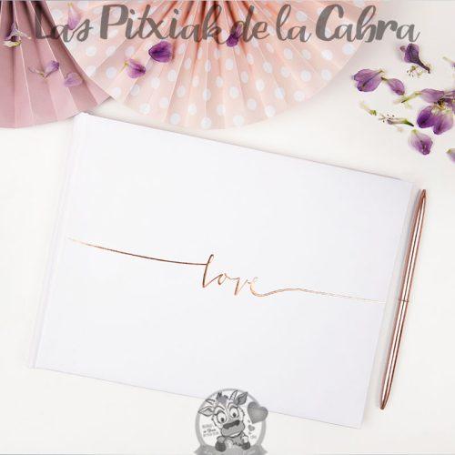 Libro de firmas para bodas love oro rosa