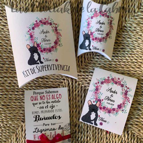 Conjunto de papelería para bodas bulldog frances