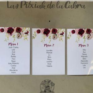 Seating para bodas con diseño flores borgoña