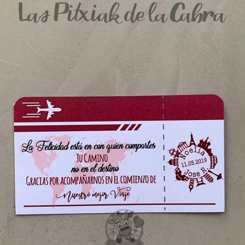 Pegatina para detalles de boda billete de avión