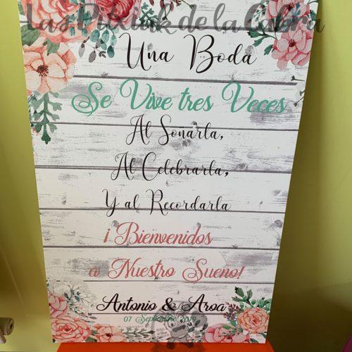 Cartel de bienvenida a boda tres veces