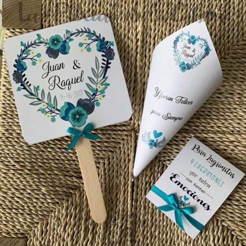 Conos para bodas flores azules
