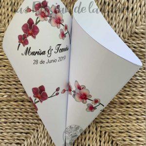 Conos para pétalos de boda orquídeas