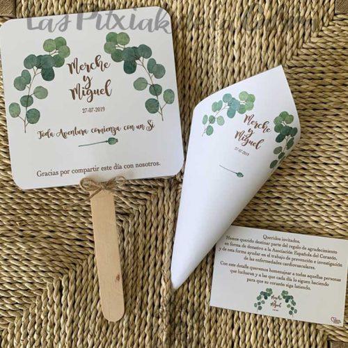 Conos para pétalos de boda decoración ramas verdes