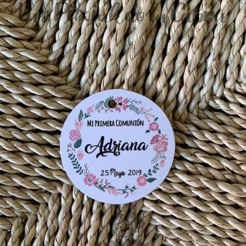 Etiquetas para detalles de primera comunión corona de flores
