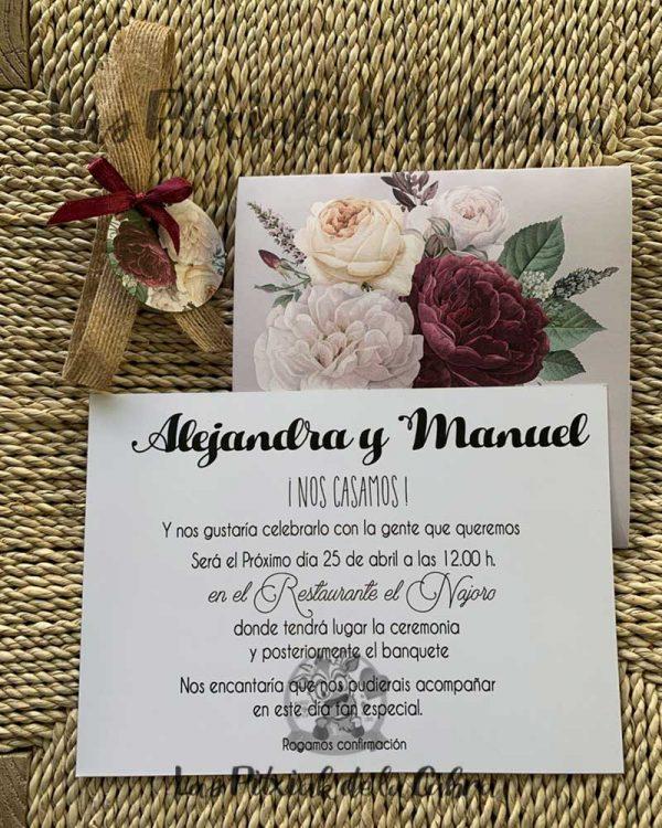 Invitación de boda con diseño vintage