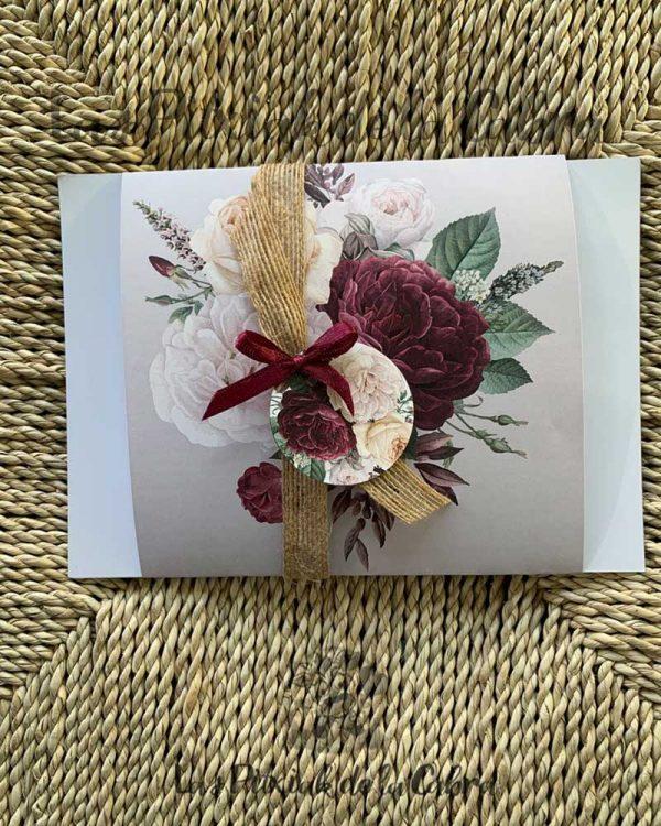 Invitación de boda rafia y lacito