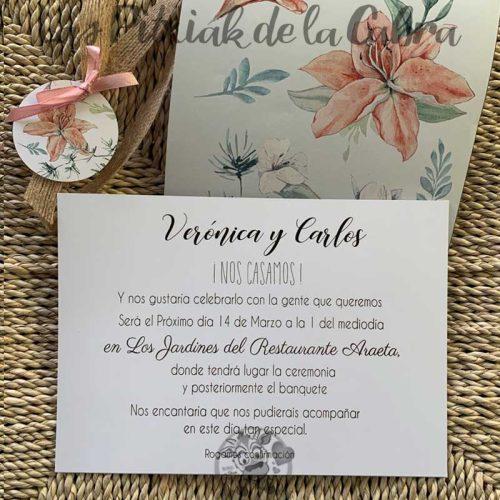 Invitación de boda gladiolos
