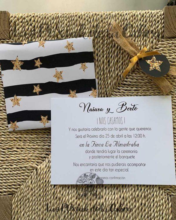 Invitación de boda estrellas