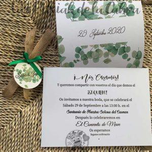 Invitación de boda con ramas verdes