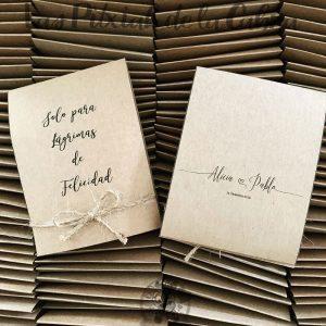 Lágrimas de felicidad, pañuelos para bodas papel kraft