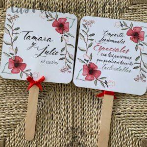 Pai pai para bodas flores rojas