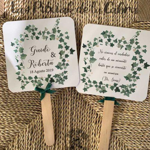 Pai pai para bodas con hojas de hiedra
