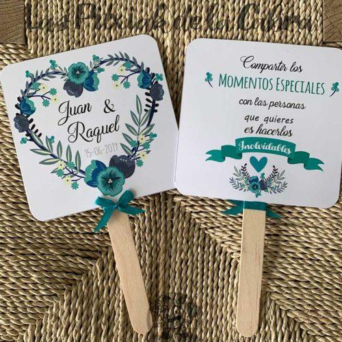 Pai pai para bodas con flores azules