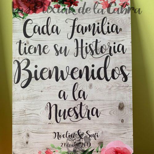 Cartel de boda cada familia tiene una historia