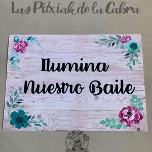 Cartel de boda ilumina nuestro baile