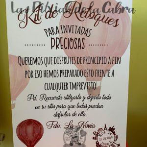 Cartel de boda para kits de retoques viajero