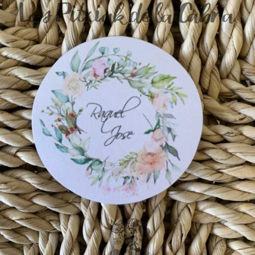 Pegatina para detalles de boda con corona de flores