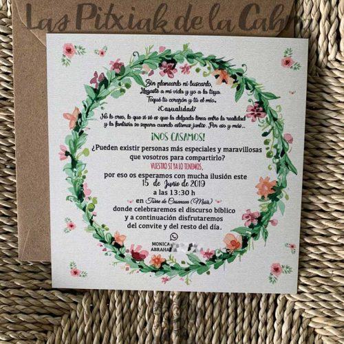 Invitación de boda con corona de flores