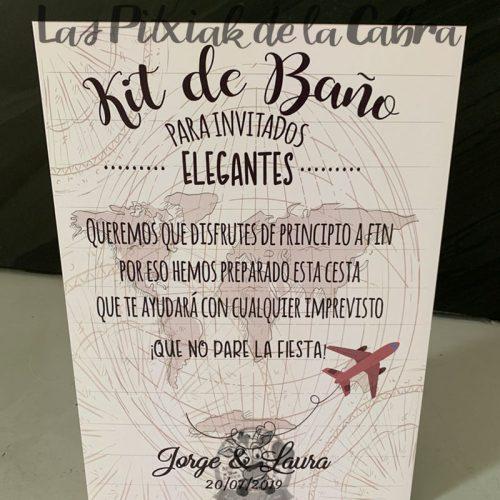 Cartel para los kits de baño temática viajera
