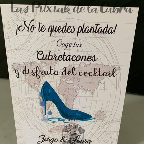 Cartel no te quedes plantada cubretacones boda