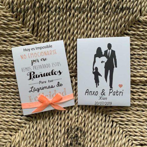 Pañuelos para lágrimas de boda novios con bebé