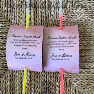 Barritas luminosas para bodas diseño rosa