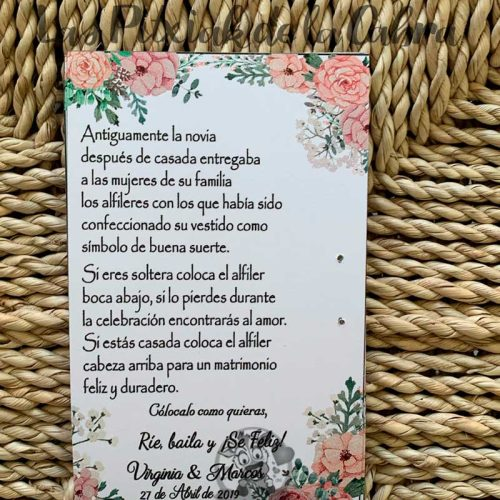 Tarjeta para alfiler de novia