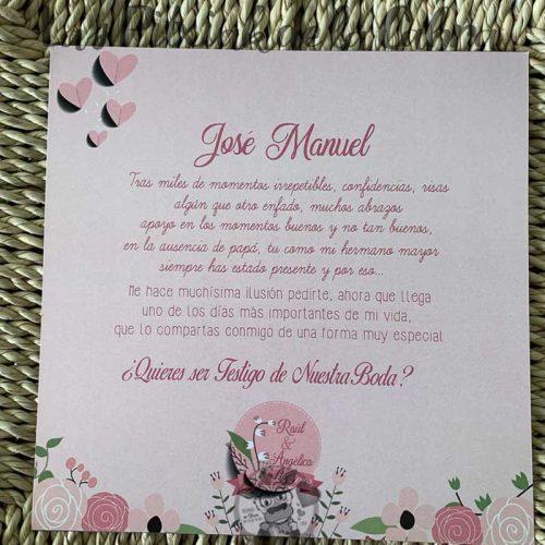 Tarjeta para pedir que seas testigo de boda