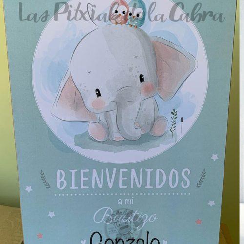 Cartel Bienvenida Bautizo Elefante